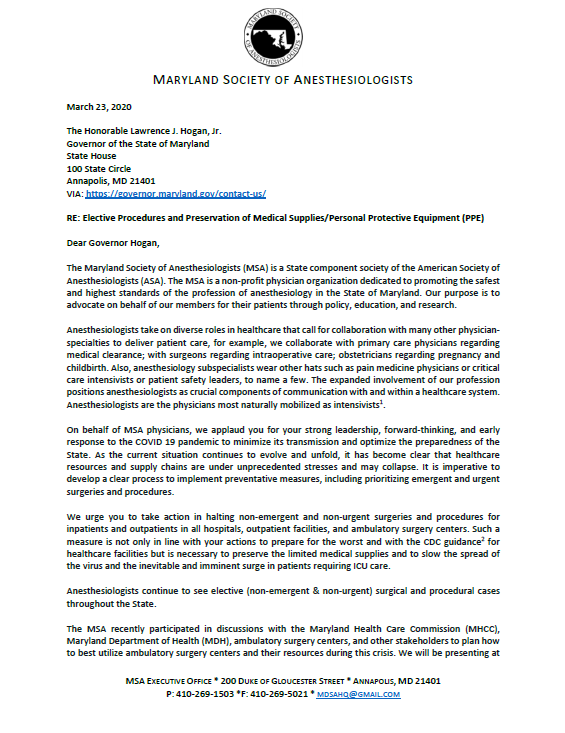 MSA Letter to Governor Hogan – Elective Procedures and ...